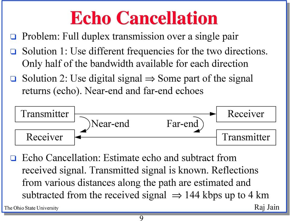 Near-end and far-end echoes Transmitter Receiver Near-end Far-end Receiver Transmitter Echo Cancellation: Estimate echo and subtract from