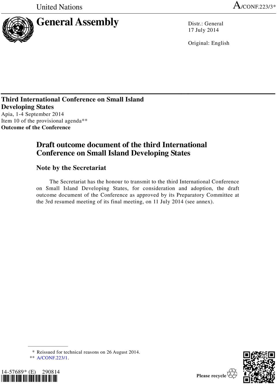 Conference Draft outcome document of the third International Conference on Small Island Developing States Note by the Secretariat The Secretariat has the honour to transmit to the third