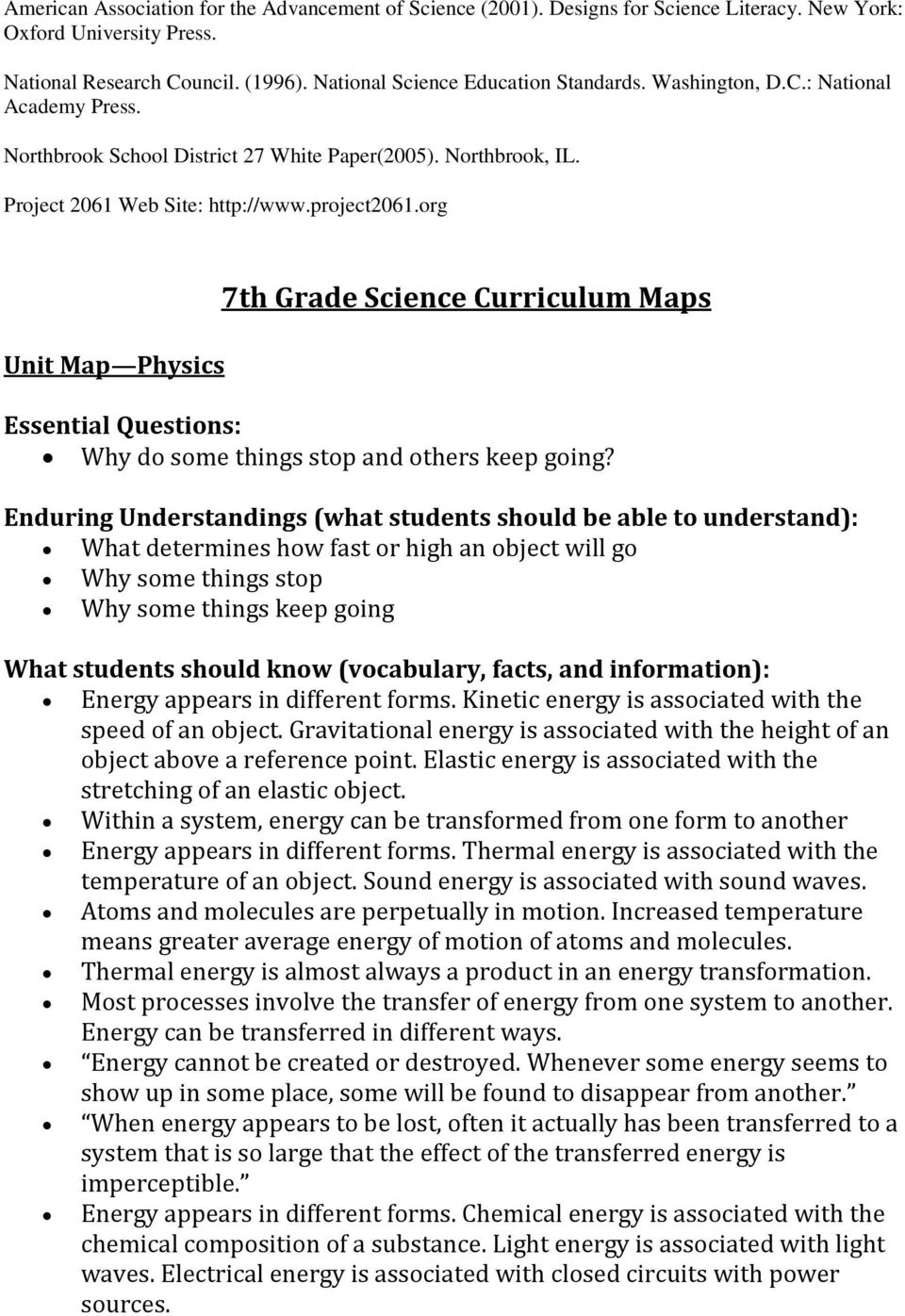org Unit Map Physics 7th Grade Science Curriculum Maps Essential Questions: Why do some things stop and others keep going?
