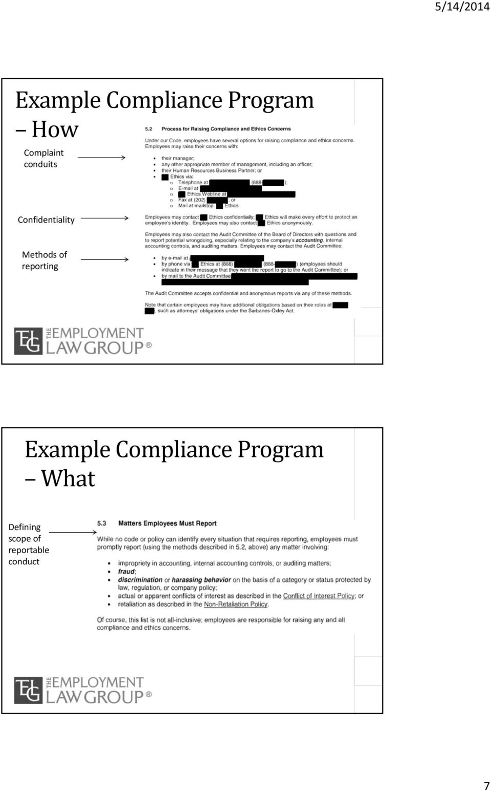 Methods of reporting Example Compliance
