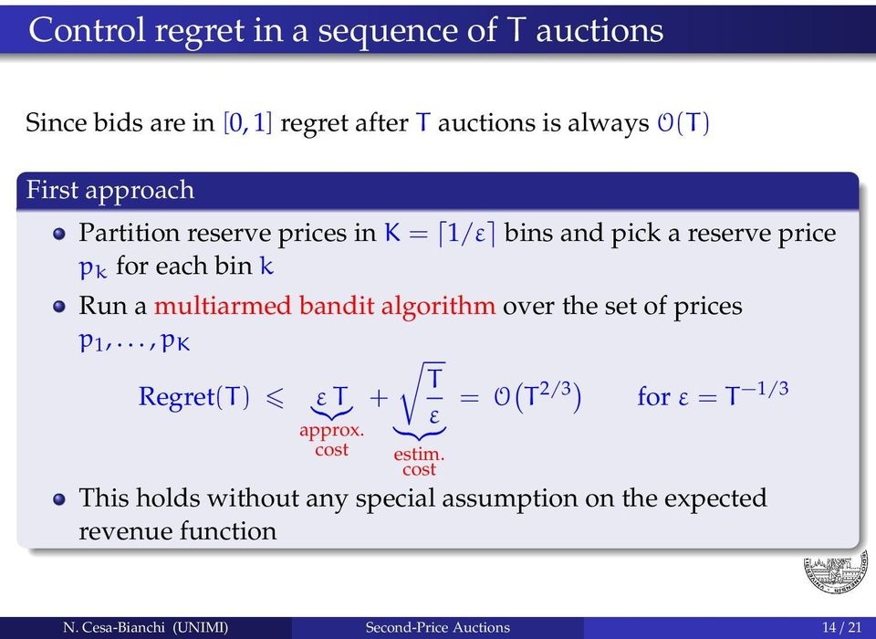 over the set of prices p 1,..., p K T Regret(T) + = O ( T 2/3) for ε = T 1/3 ε ε T }{{} approx. cost } {{ } estim.