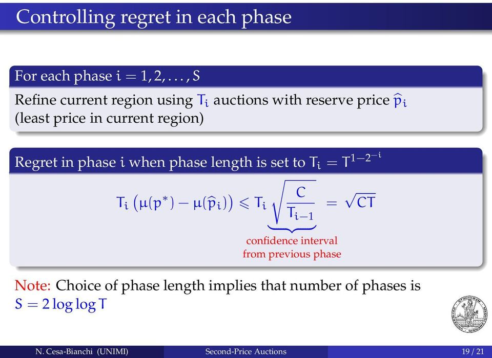 in phase i when phase length is set to T i = T 1 2 i ( T i µ(p ) µ( p i ) ) C T i = CT T i 1 } {{ }