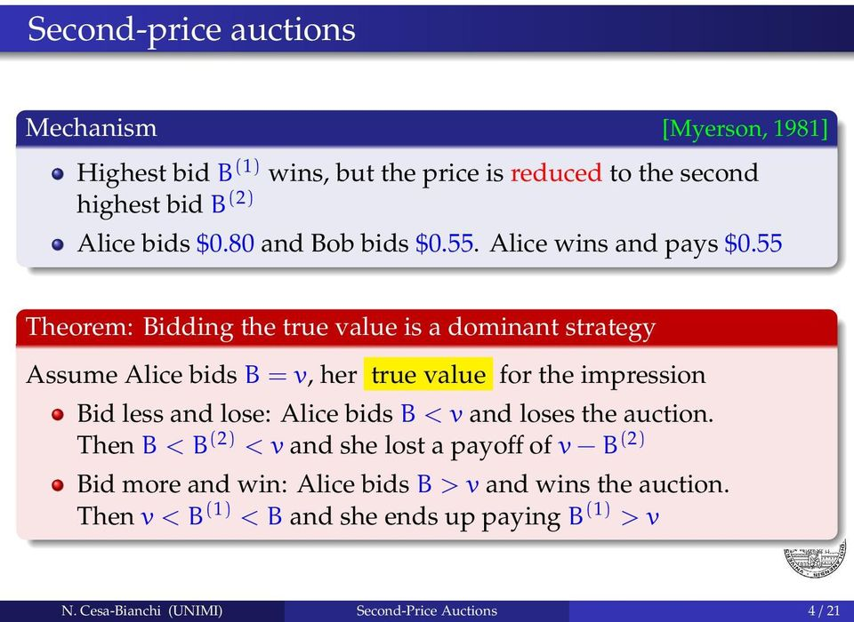 55 Theorem: Bidding the true value is a dominant strategy Assume Alice bids B = v, her true value for the impression Bid less and lose: Alice