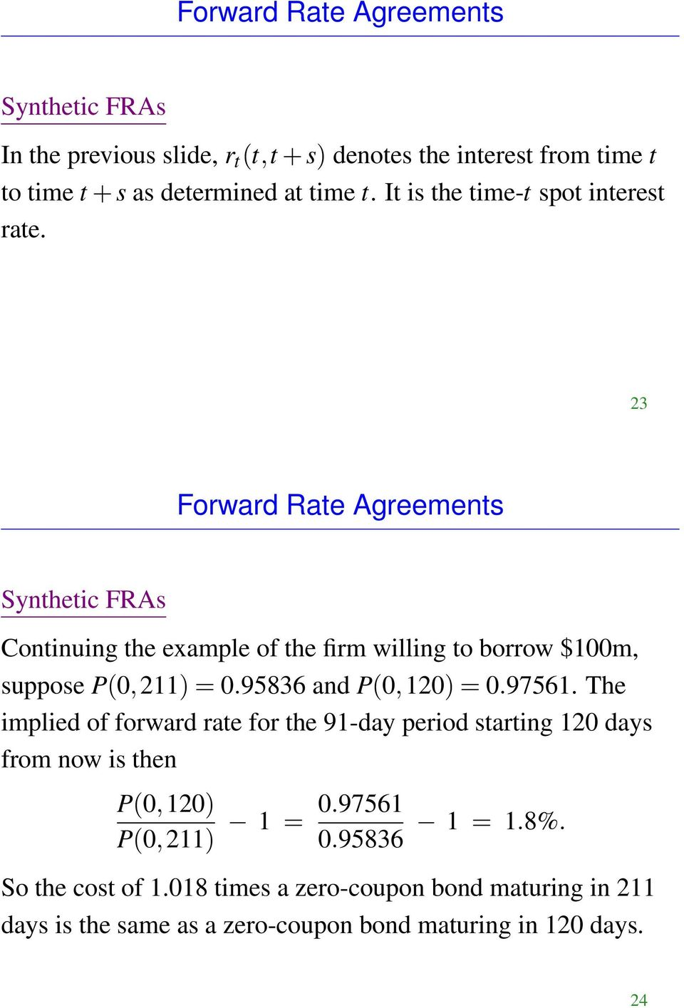 23 Forward Rate Agreements Synthetic FRAs Continuing the example of the firm willing to borrow $100m, suppose P(0, 211) = 0.95836 and P(0, 120) = 0.