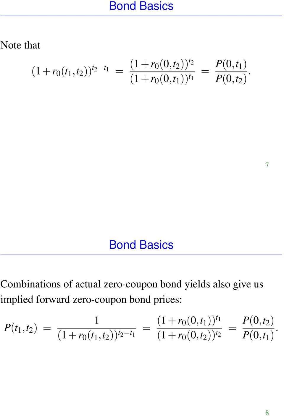 7 Bond Basics Combinations of actual zero-coupon bond yields also give us implied