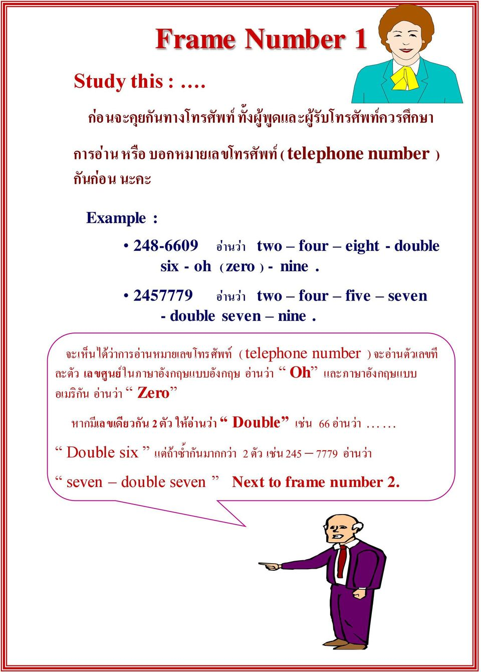 248-6609 อ านว า two four eight - double six - oh ( zero ) - nine. 2457779 อ านว า two four five seven - double seven nine.