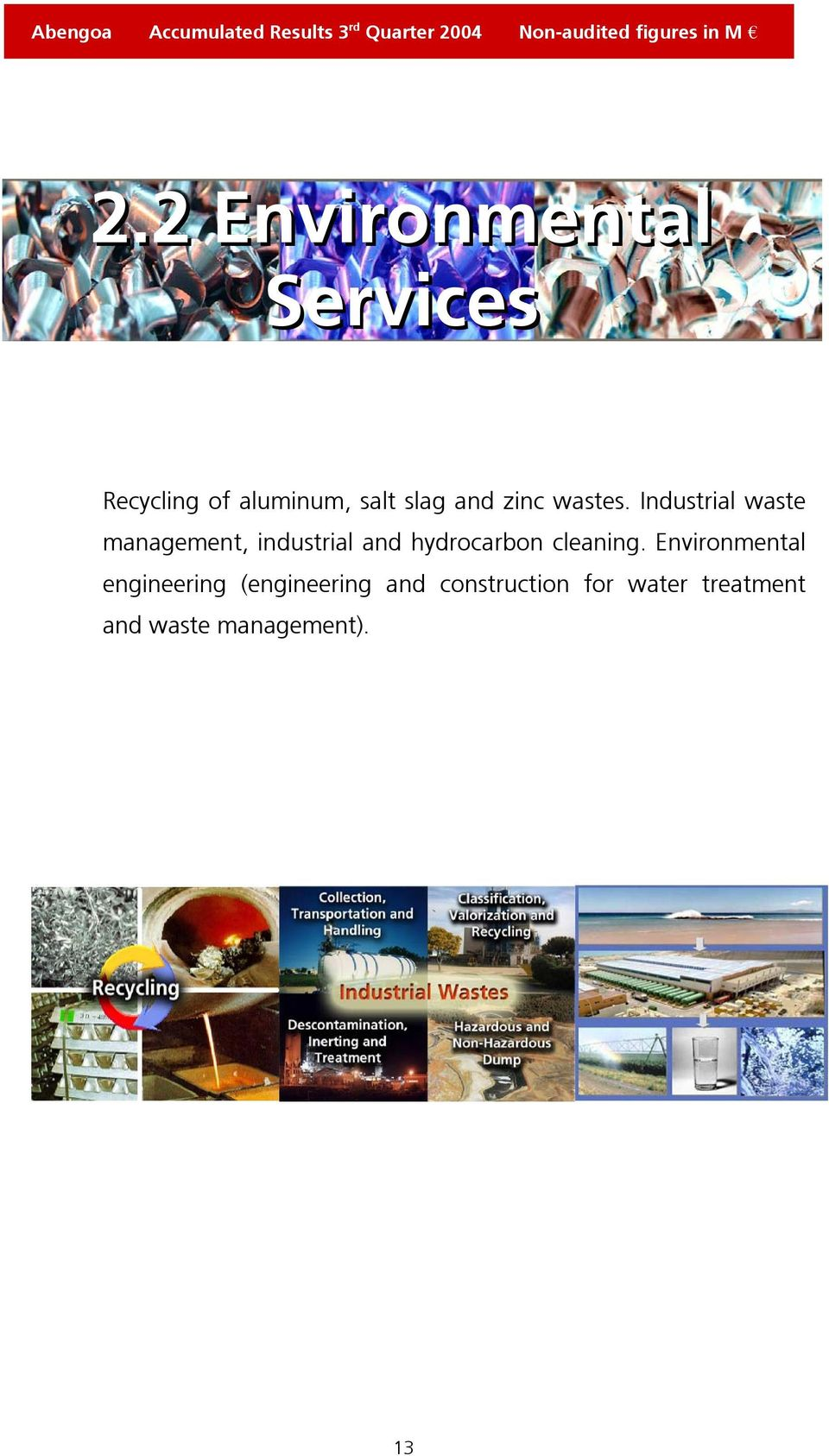 Industrial waste management, industrial and hydrocarbon