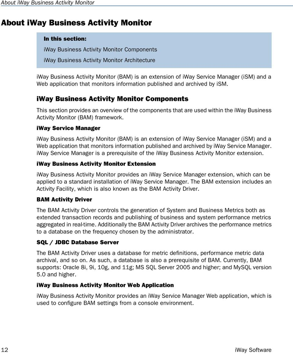 iway Business Activity Monitor Components This section provides an overview of the components that are used within the iway Business Activity Monitor (BAM) framework.