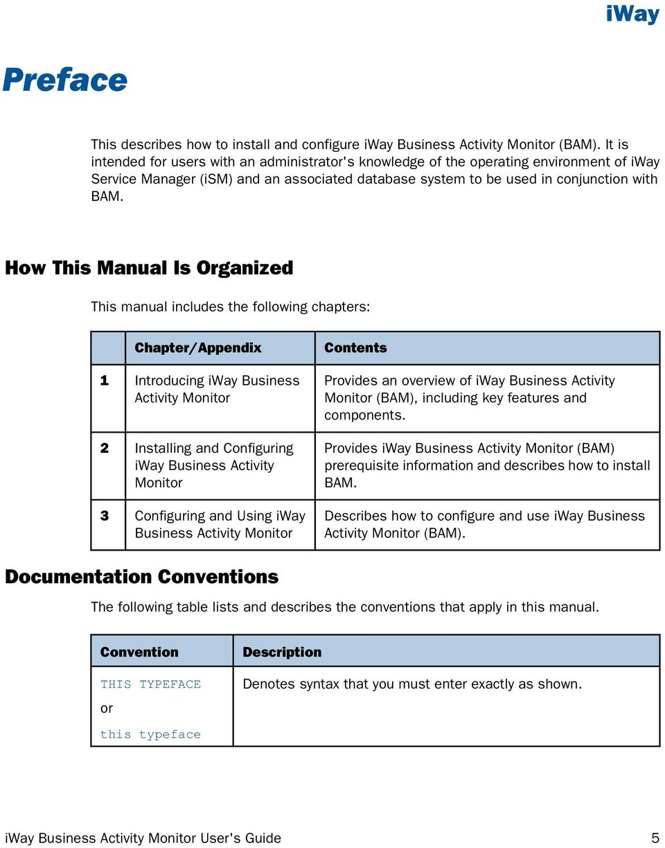 How This Manual Is Organized This manual includes the following chapters: 1 2 3 Chapter/Appendix Introducing iway Business Activity Monitor Installing and Configuring iway Business Activity Monitor