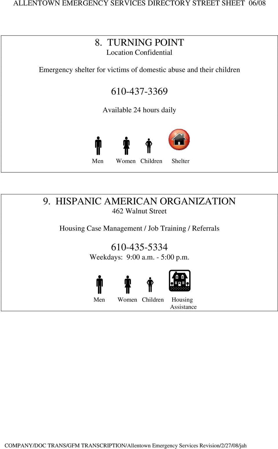 HISPANIC AMERICAN ORGANIZATION 462 Walnut Street Housing Case Management / Job Training