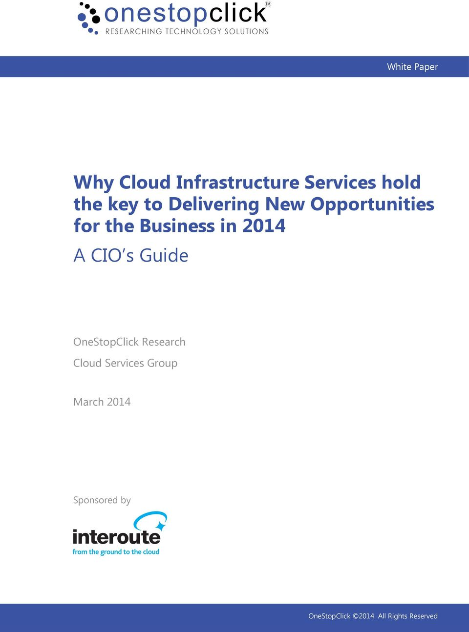 CIO s Guide OneStopClick Research Cloud Services Group