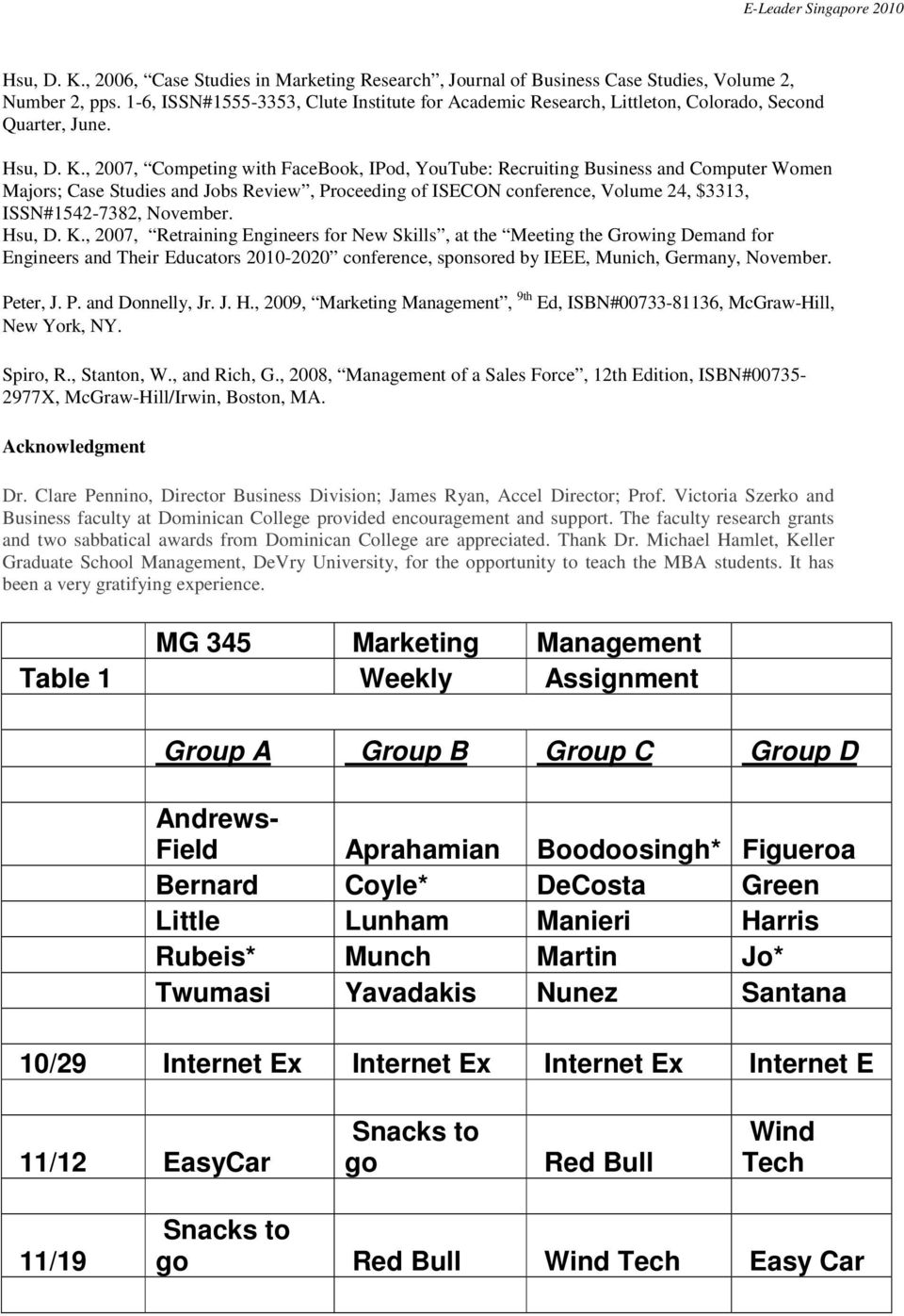 , 2007, Competing with FaceBook, IPod, YouTube: Recruiting Business and Computer Women Majors; Case Studies and Jobs Review, Proceeding of ISECON conference, Volume 24, $3313, ISSN#1542-7382,