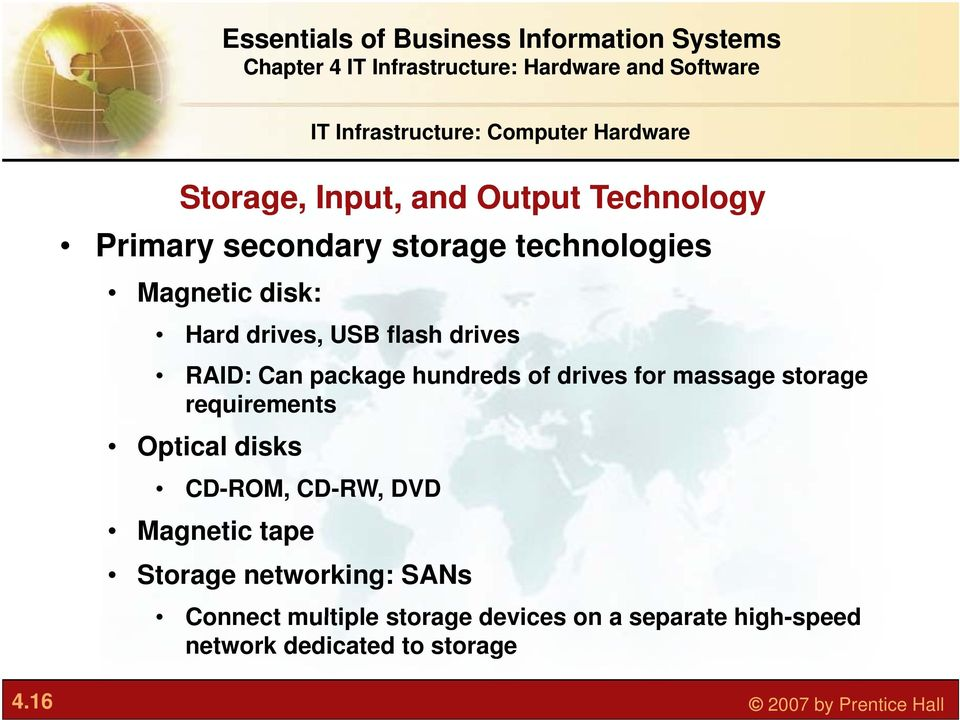 massage storage requirements Optical disks CD-ROM, CD-RW, DVD Magnetic tape Storage networking: SANs