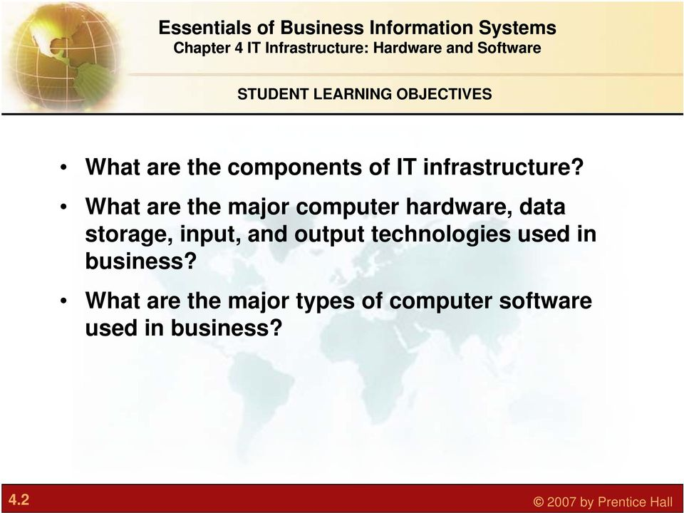 What are the major computer hardware, data storage, input, and
