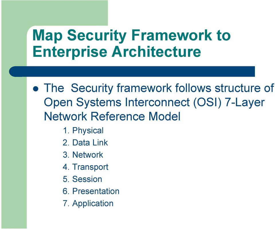 Interconnect (OSI) 7-Layer Network Reference Model 1.