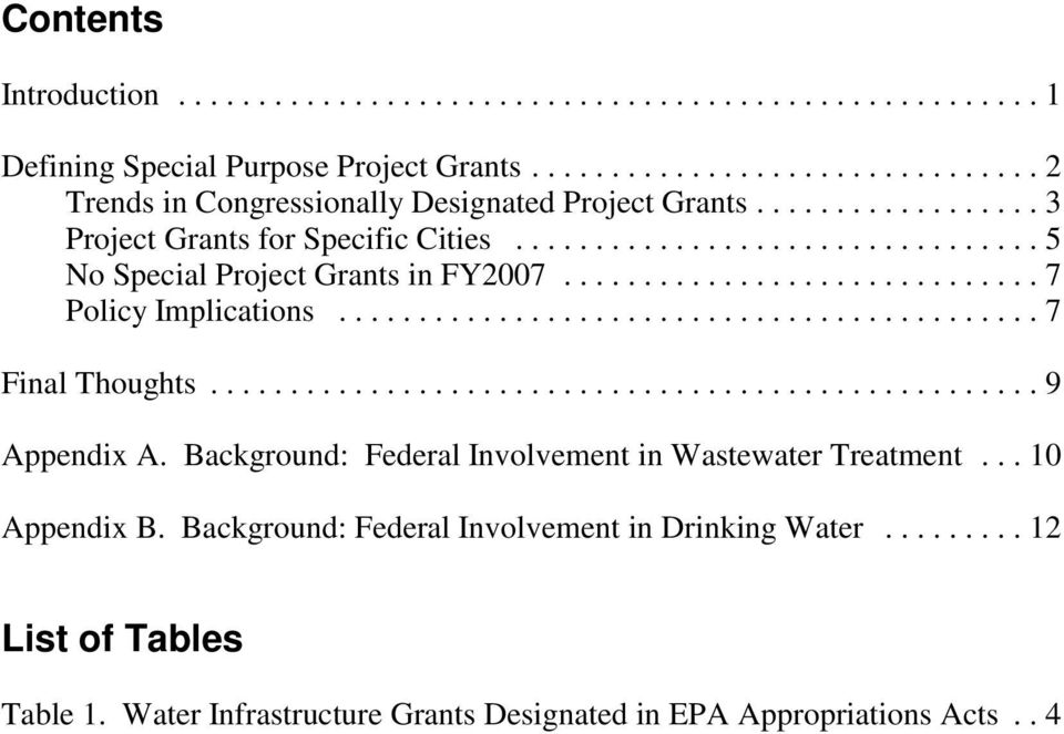 ..9 Appendix A. Background: Federal Involvement in Wastewater Treatment...10 Appendix B.