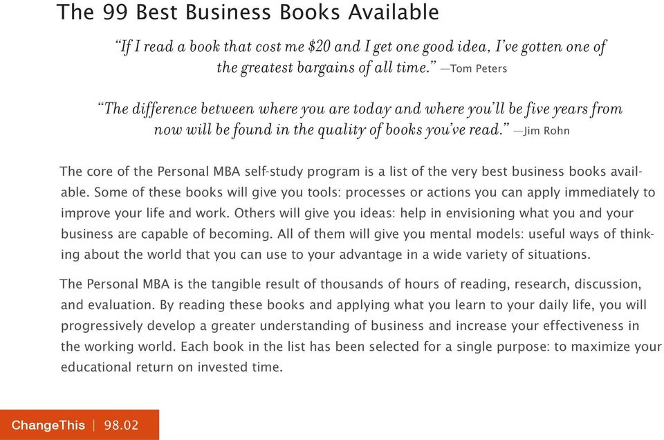 Jim Rohn The core of the Personal MBA self-study program is a list of the very best business books available.