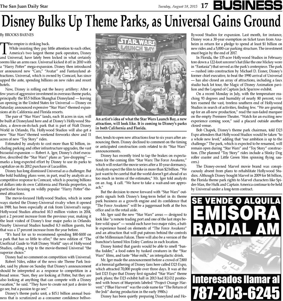 While insisting they pay little attention to each other, America s two largest theme park operators, Disney and Universal, have lately been locked in what certainly seems like an arms race.