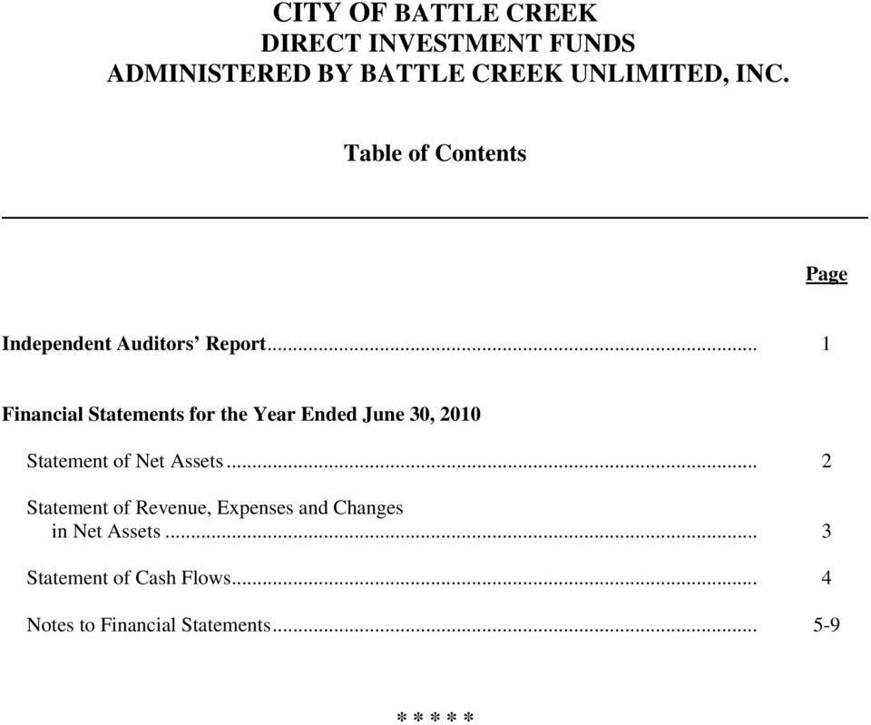 .. 1 Financial Statements for the Year Ended June 30, 2010 Statement of Net Assets.