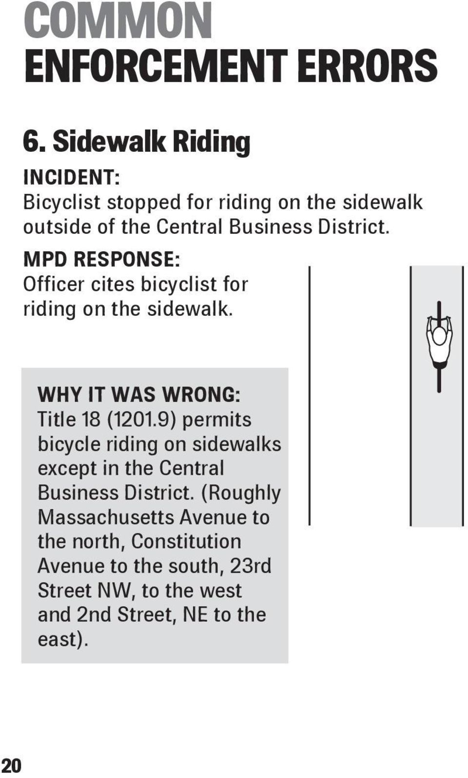 MPD RESPONSE: Officer cites bicyclist for riding on the sidewalk. WHY IT WAS WRONG: Title 18 (1201.
