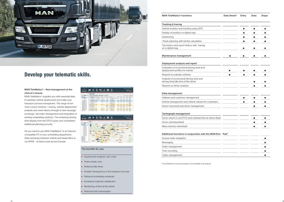 MAN TeleMatics fleet management at the click of a mouse. MAN TeleMatics supplies you with essential data to optimise vehicle deployment and make your transport process transparent.