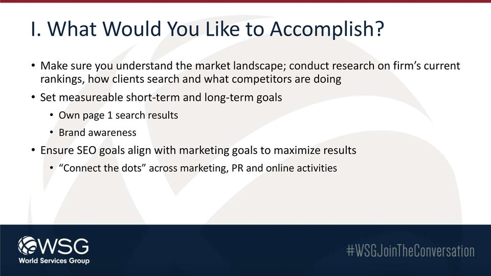 clients search and what competitors are doing Set measureable short-term and long-term goals Own