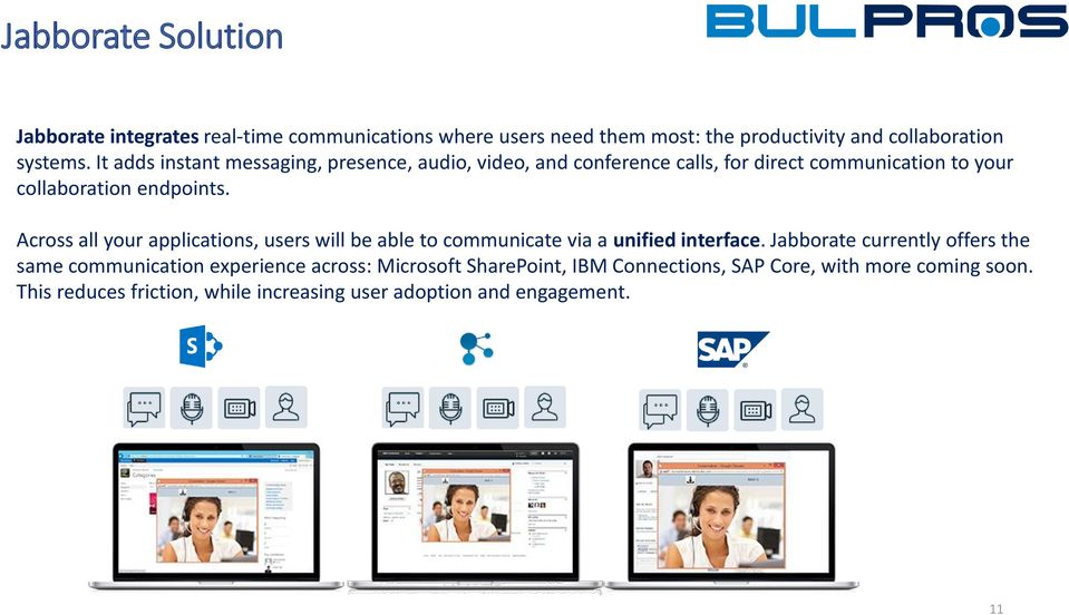 Across all your applications, users will be able to communicate via a unified interface.