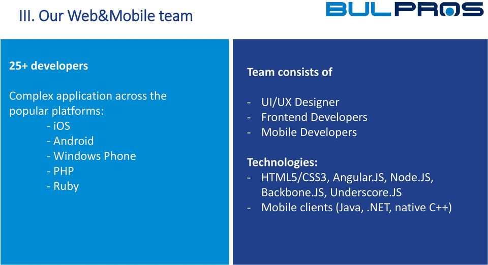 NET developers - 7 UI/UX Windows Designer Mobile Application developers - 17 Frontend SharePoint Developers Developers - 8 Mobile SharePoint Developers