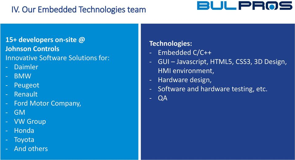 NET developers C/C++ - 7 GUI Windows Javascript, Mobile HTML5, Application CSS3, developers 3D Design, 17 HMI SharePoint environment, Developers - 8 Hardware