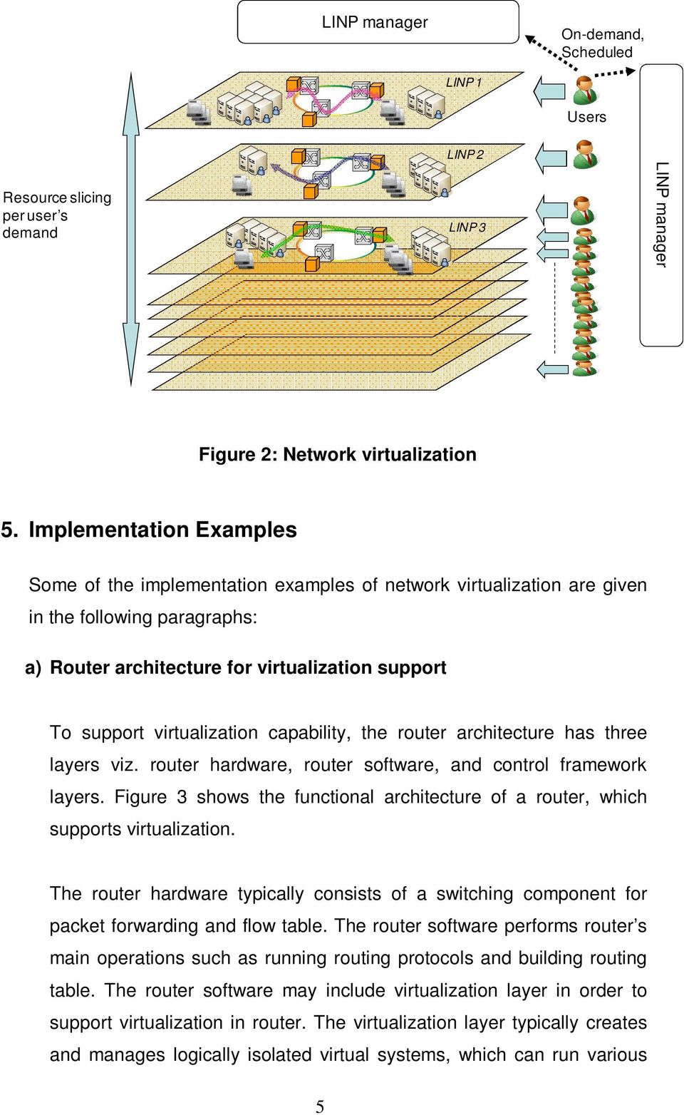 virtualization capability, the router architecture has three layers viz. router hardware, router software, and control framework layers.