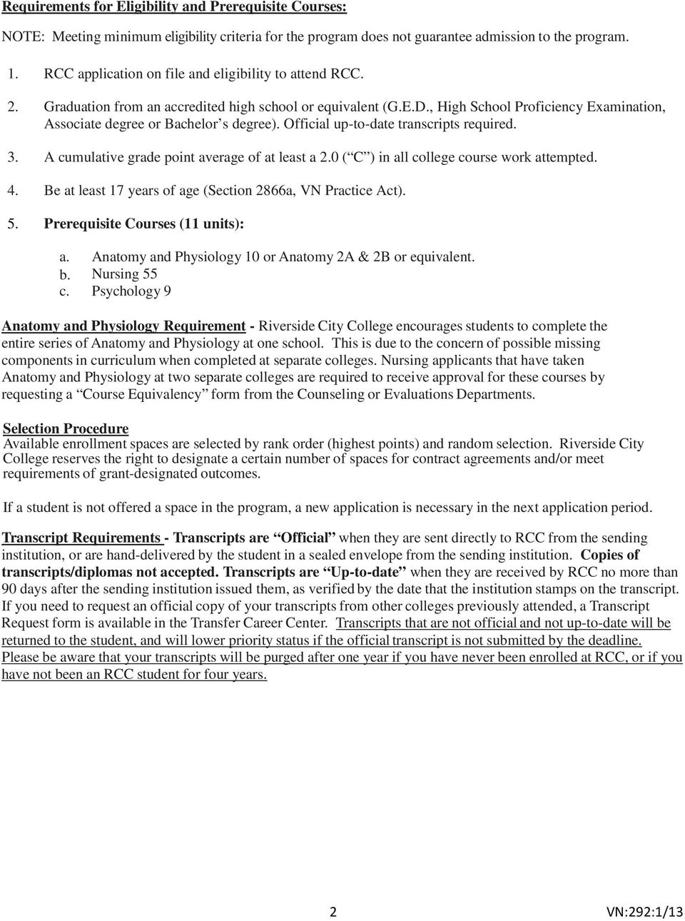 VOCATIONAL NURSING INFORMATION SHEET - PDF