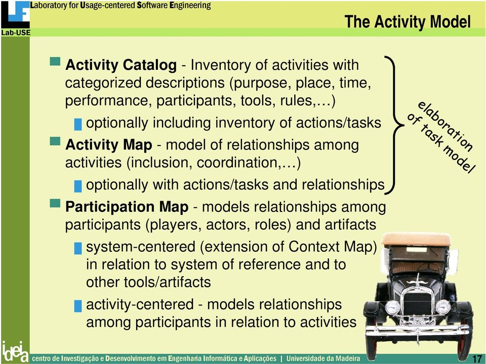 participants (players, actors, roles) and artifacts system-centered (extension of Context Map) in relation to system of reference and to other tools/artifacts activity-centered - models