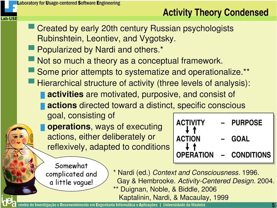 ** Hierarchical structure of activity (three levels of analysis): activities are motivated, purposive, and consist of actions directed toward a distinct, specific conscious goal, consisting of