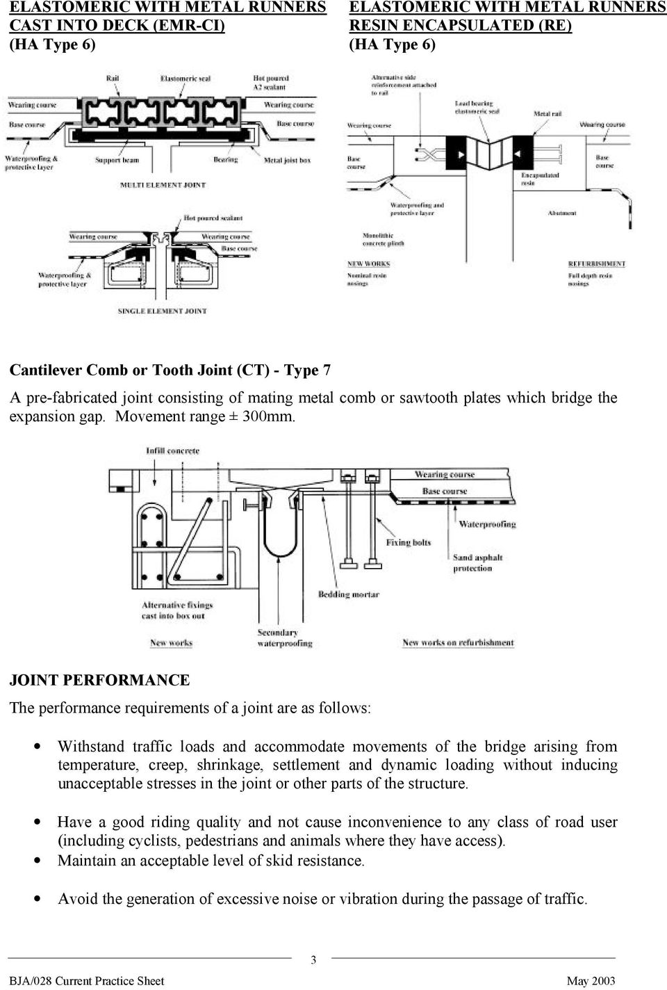 JOINT PERFORMANCE The performance requirements of a joint are as follows: Withstand traffic loads and accommodate movements of the bridge arising from temperature, creep, shrinkage, settlement and