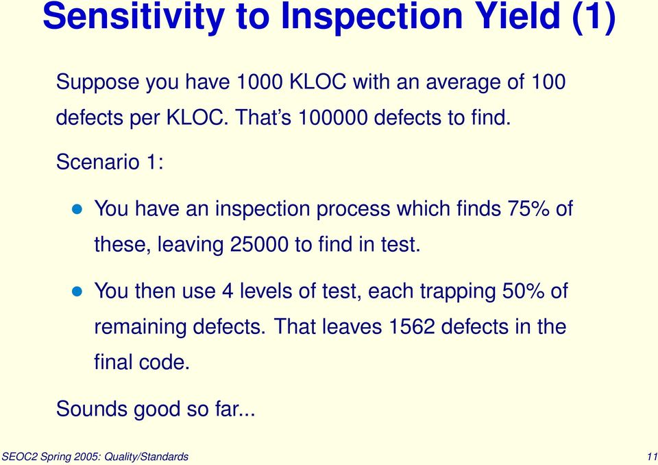 Scenario 1: You have an inspection process which finds 75% of these, leaving 25000 to find in test.
