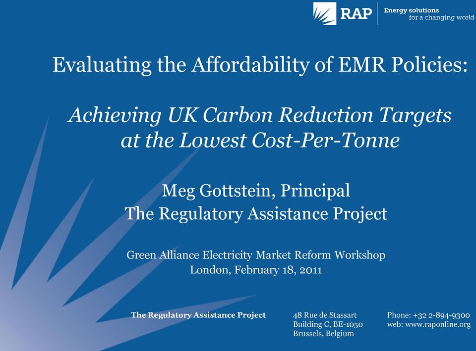 Electricity Market Reform Workshop London, February 18, 2011 The Regulatory Assistance Project