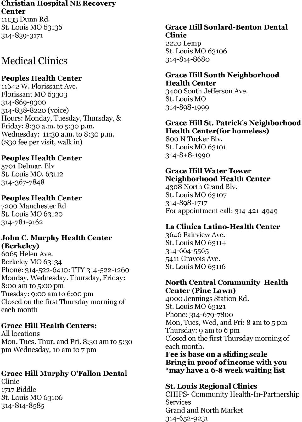 Blv St. Louis MO. 63112 314-367-7848 Peoples Health Center 7200 Manchester Rd St. Louis MO 63120 314-781-9162 John C. Murphy Health Center (Berkeley) 6065 Helen Ave.
