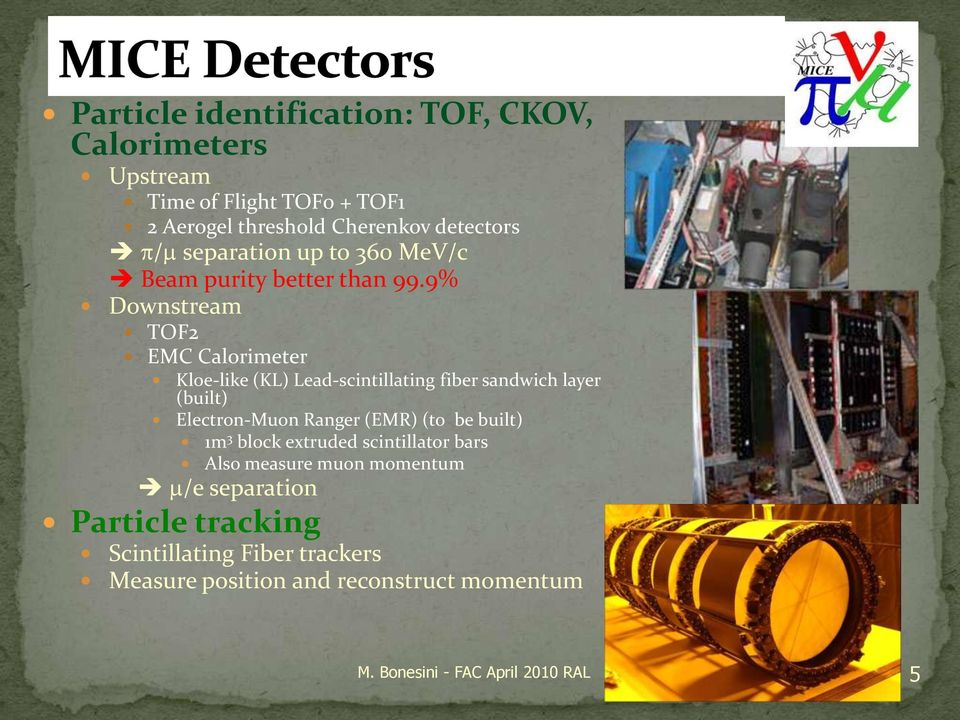 9% Downstream TOF2 EMC Calorimeter Kloe-like (KL) Lead-scintillating fiber sandwich layer (built) Electron-Muon Ranger (EMR) (to be