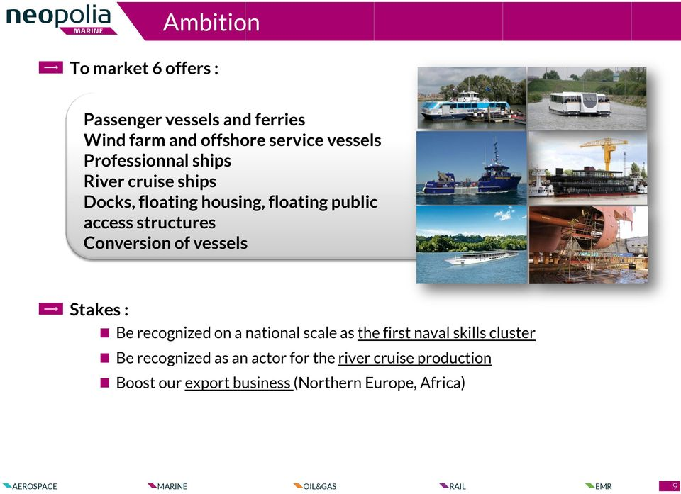 Conversion of vessels Stakes : Be recognized on a national scale as the first naval skills cluster Be