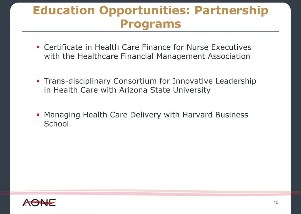 Association Trans-disciplinary Consortium for Innovative Leadership in Health