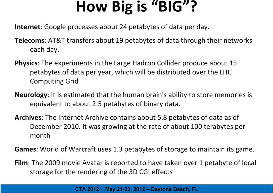 brain's ability to store memories is equivalent to about 2.5 petabytes of binary data. Archives: The Internet Archive contains about 5.8 petabytes of data as of December 2010.