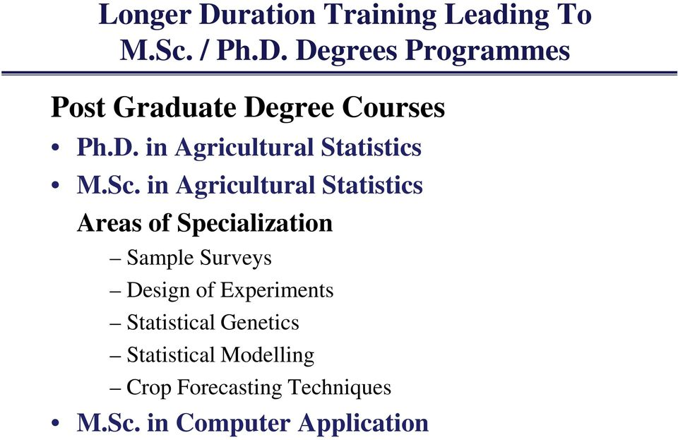 in Agricultural Statistics Areas of Specialization Sample Surveys Design of