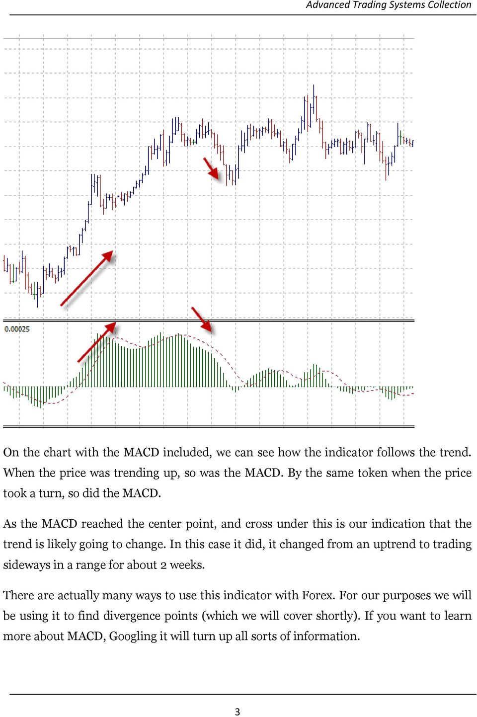 As the MACD reached the center point, and cross under this is our indication that the trend is likely going to change.