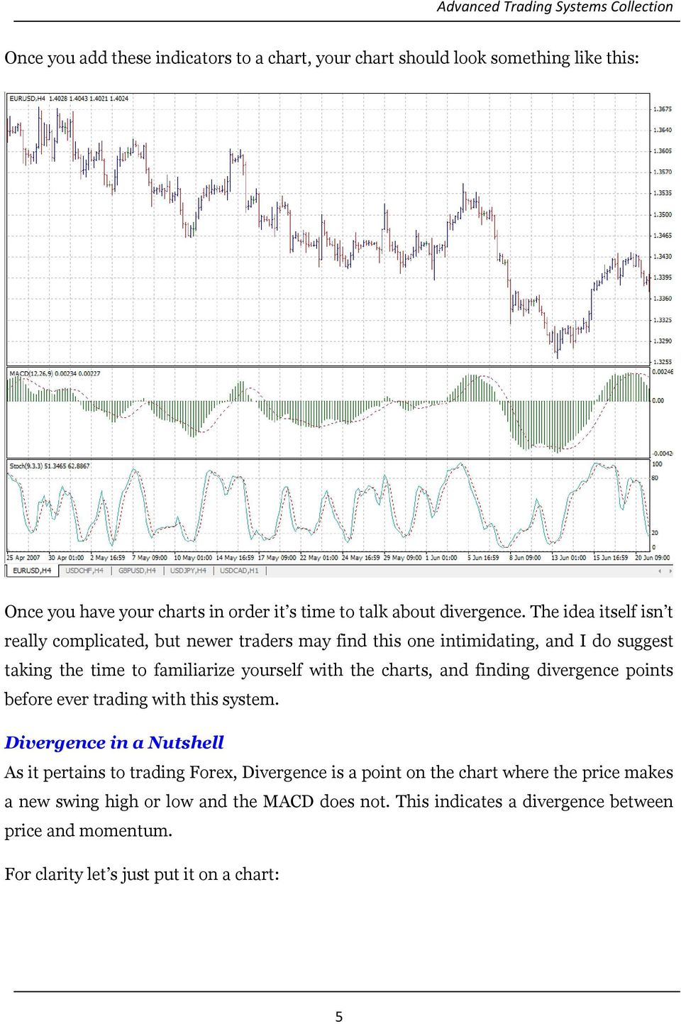 charts, and finding divergence points before ever trading with this system.