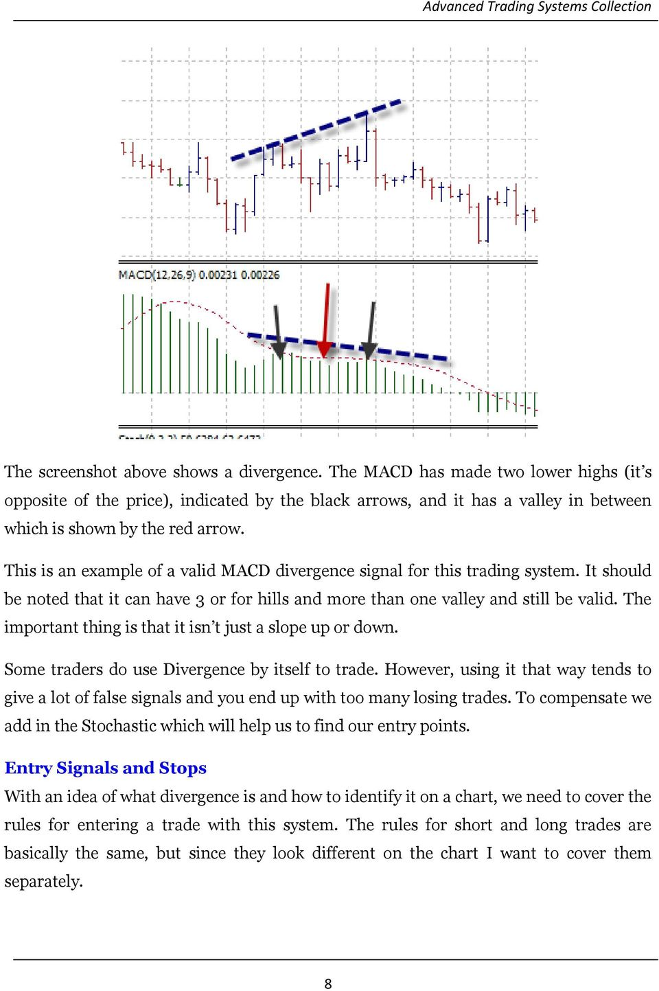 The important thing is that it isn t just a slope up or down. Some traders do use Divergence by itself to trade.