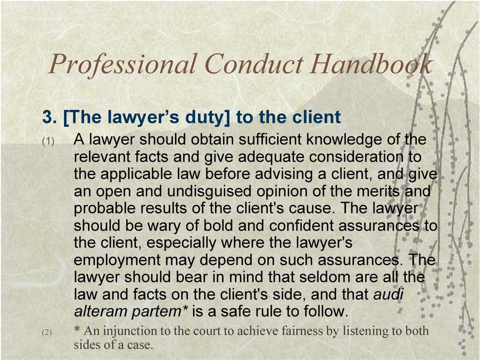 a client, and give an open and undisguised opinion of the merits and probable results of the client's cause.