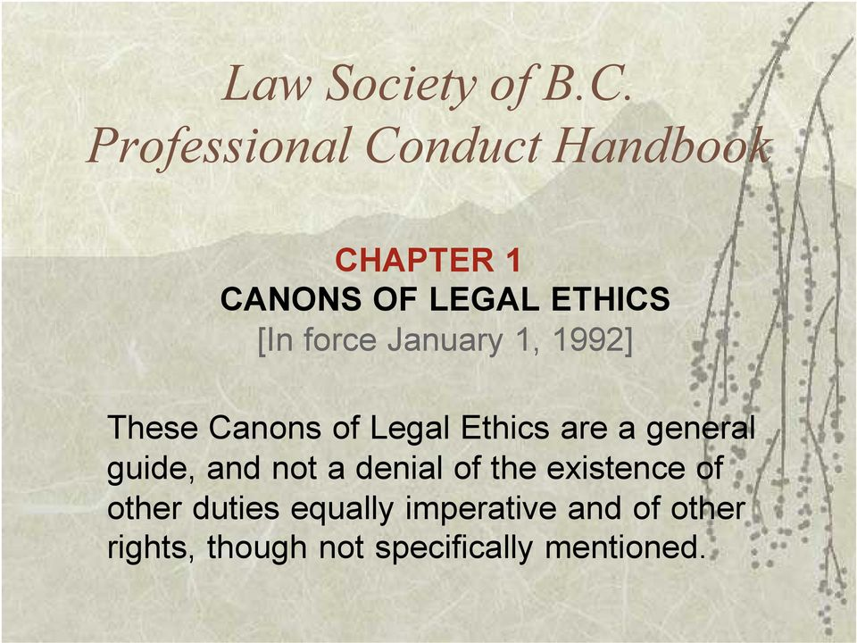 force January 1, 1992] These Canons of Legal Ethics are a general
