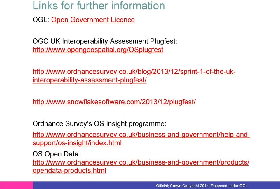 co.uk/blog/2013/12/sprint-1-of-the-ukinteroperability-assessment-plugfest/ http://www.ordnancesurvey.co.uk/business-and-government/help-andsupport/os-insight/index.