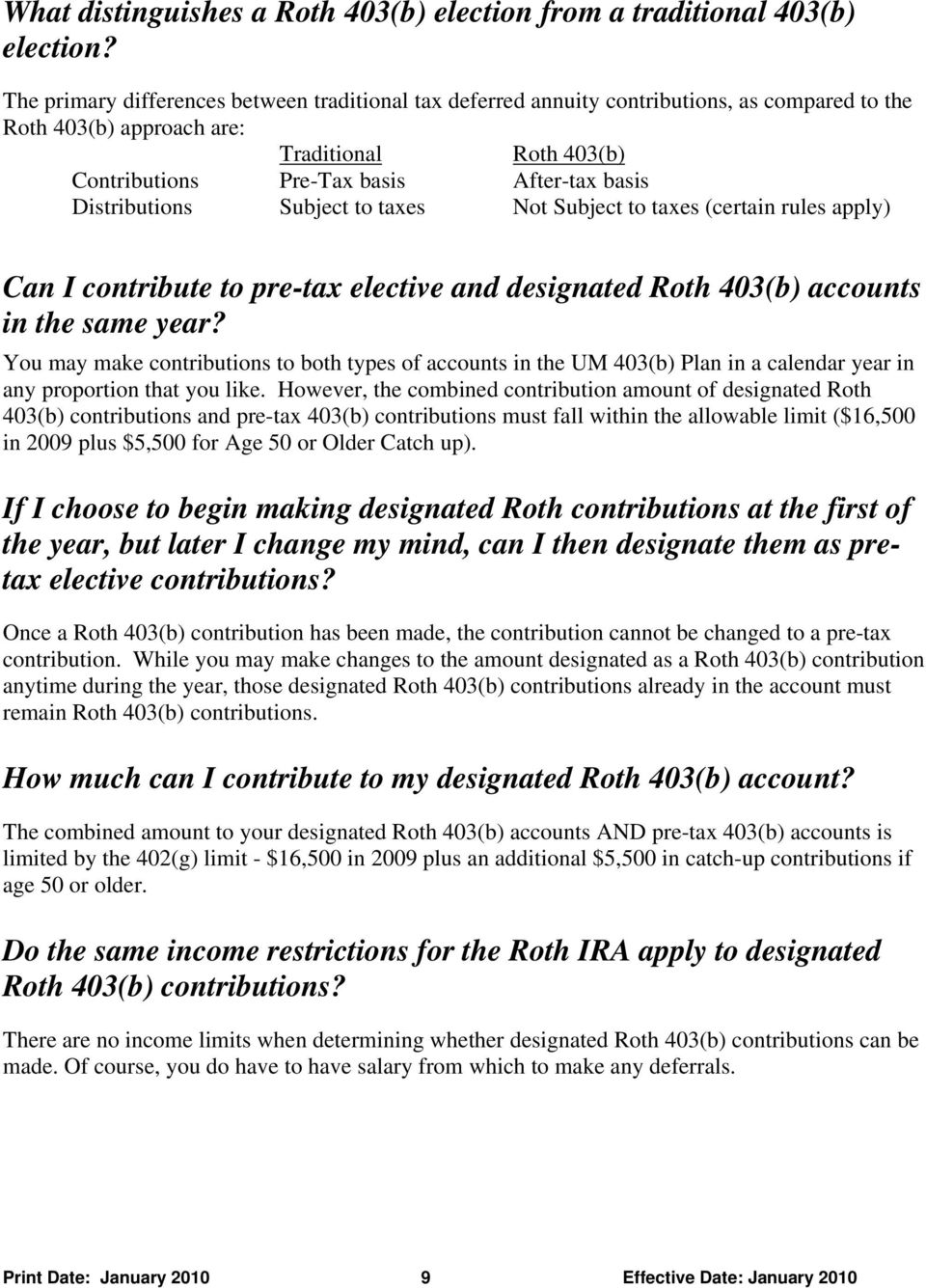 Distributions Subject to taxes Not Subject to taxes (certain rules apply) Can I contribute to pre-tax elective and designated Roth 403(b) accounts in the same year?