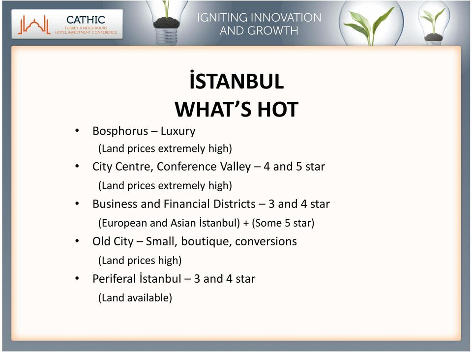 4 star (European and Asian İstanbul) + (Some 5 star) Old City Small, boutique,